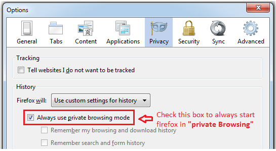 Always use private browsing mode