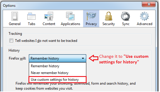 Use custom settings for history