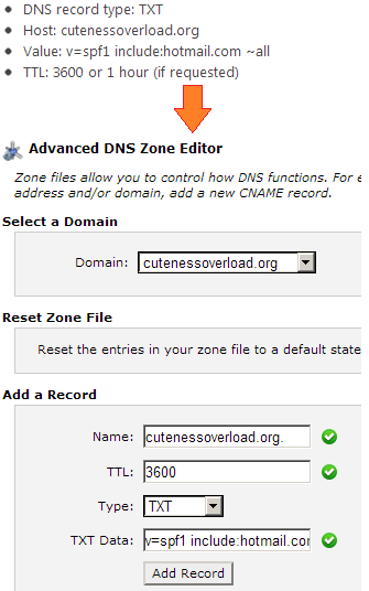 how to create spf record in dns windows 2008