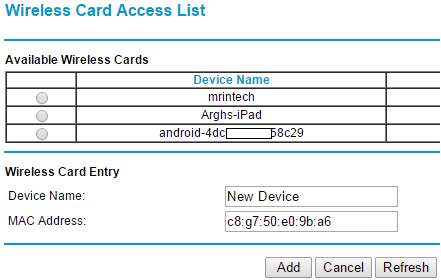 add device mac address