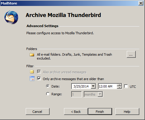advanced archiving settings