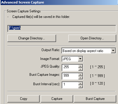 advanced screen capture settings