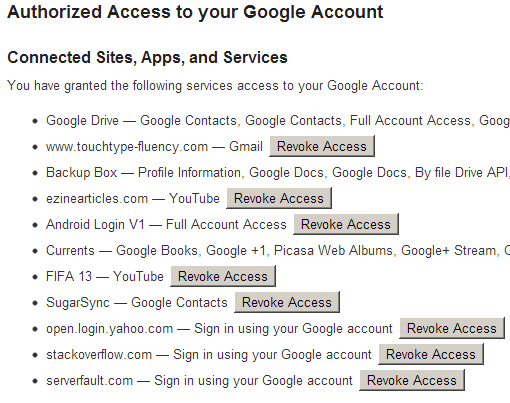 authorized websites for google account