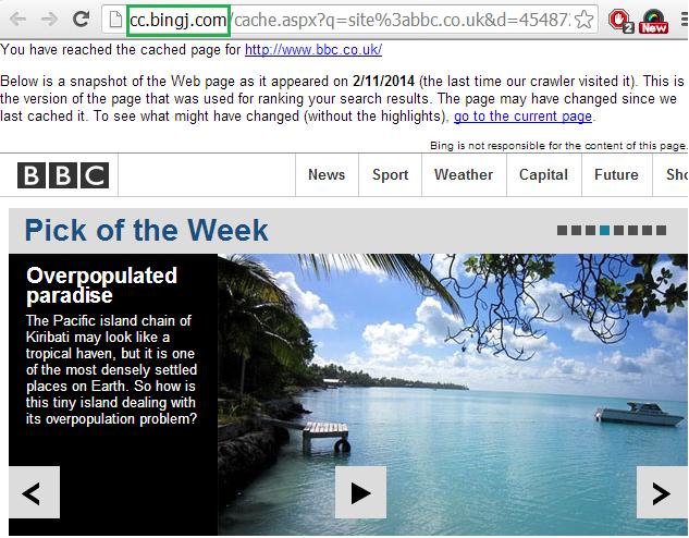 bbc bing cache