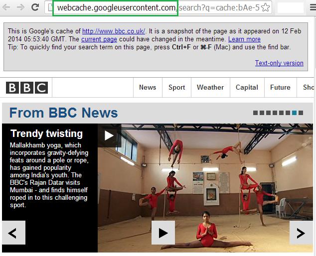 bbc google cache