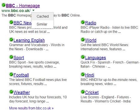 bbc homepage cache google