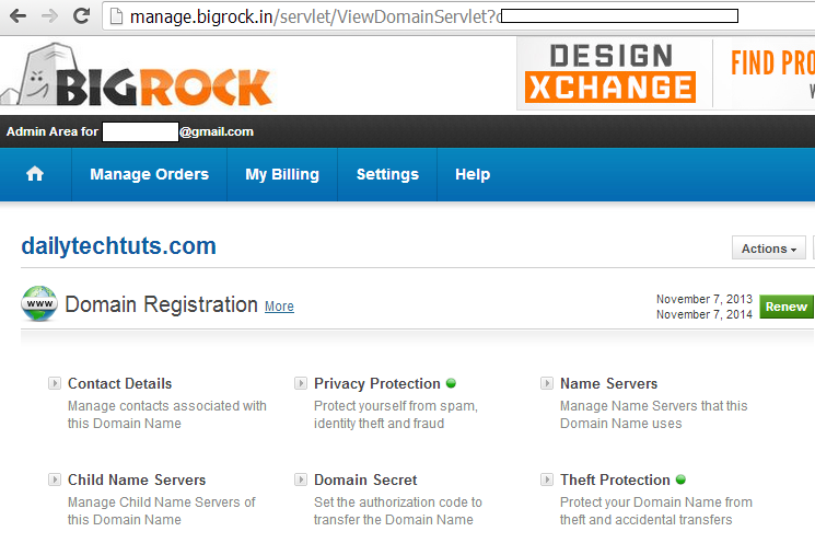 bigrock manage domain