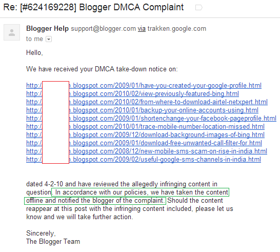 blogger dmca takedown