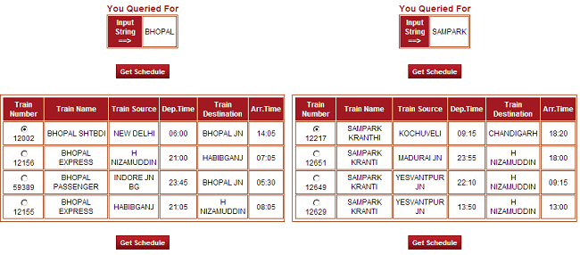 check train schedule