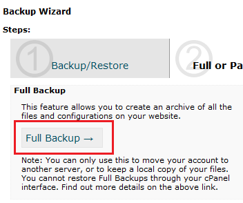 cpanel full backup