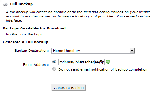 cpanel generate backup