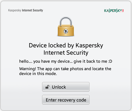 device locked by kaspersky