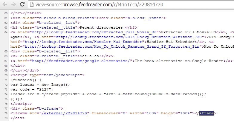 feedreader iframe code