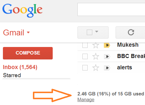 gmail storage space