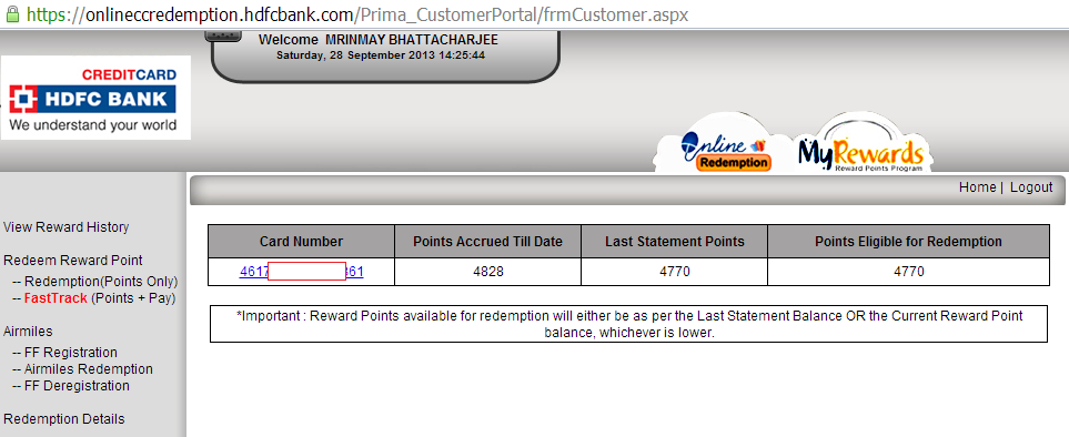 hdfc bank reward points balance