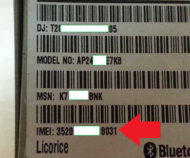 imei number printed on box