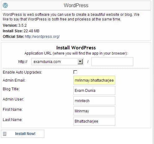 install wordpress using quick install