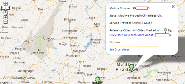 mobile number location on map