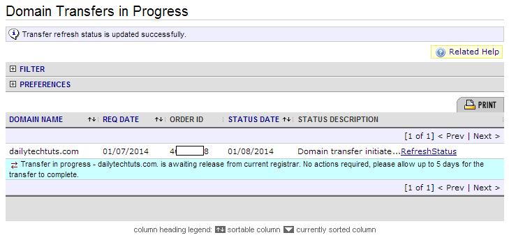 namecheap domain transfer status