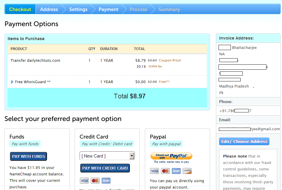 namecheap payment options