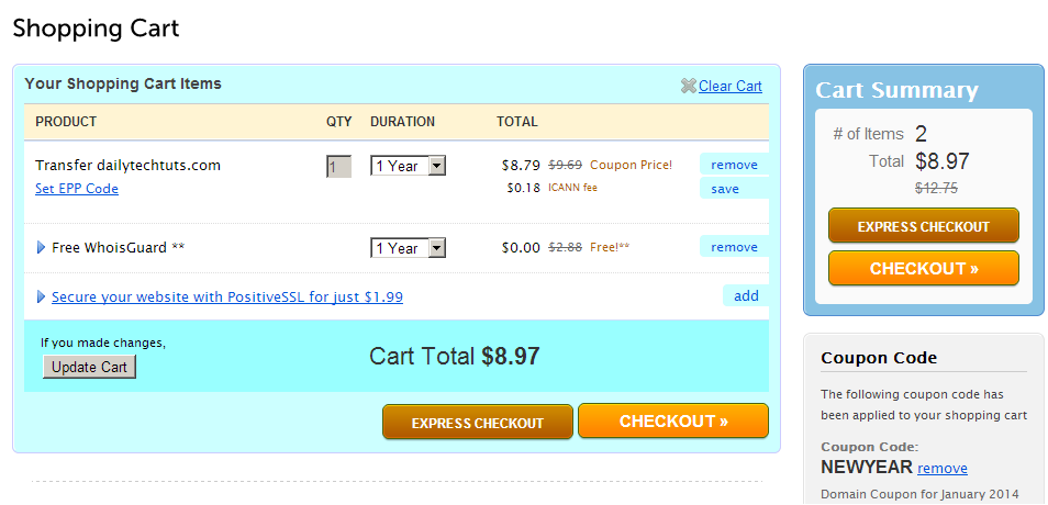 namecheap shopping cart