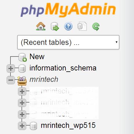 phpmyadmin table name