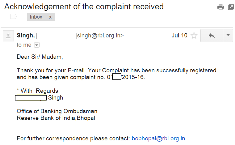 Once You Have Sent Your Complaint To RBI And SEBI, You Will Get Your Unique  Complaint Number (example ...