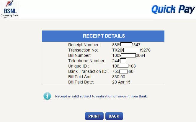 ViewPay BSNL Landline and Broadband Bills Online Daily Tech – Paid Receipt