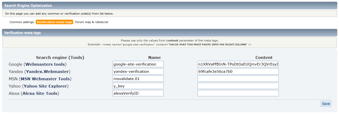 smf verification meta tags