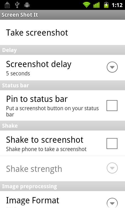 take screenshot by shaking android device