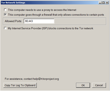 tor allowed ports
