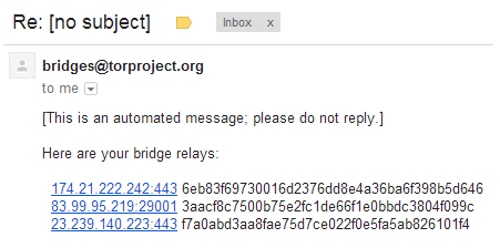 tor bridges via email