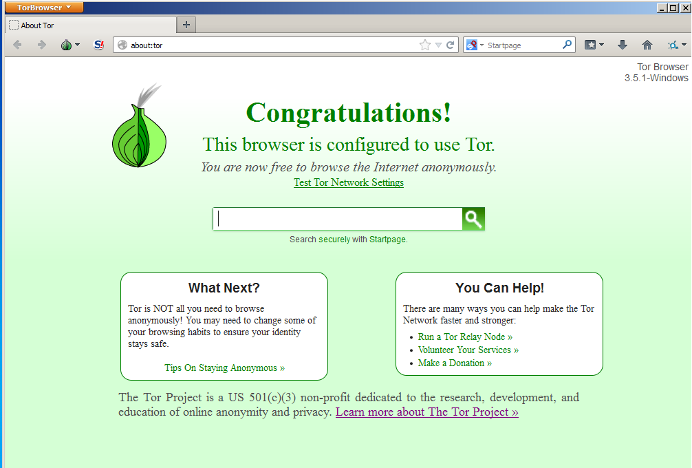 tor browser main window