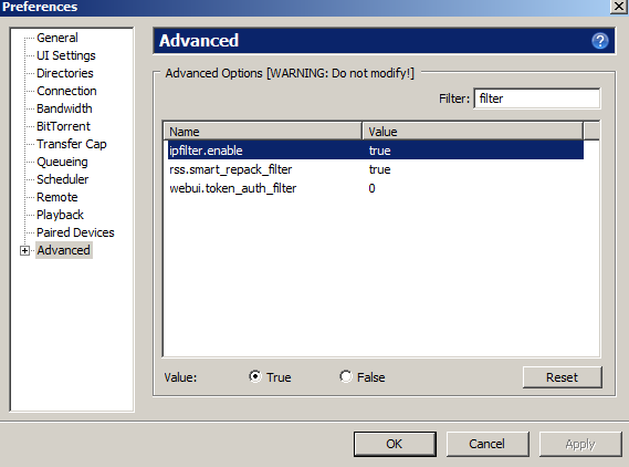 enable ip address filter in utorrent