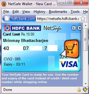 virtual credit card hdfc netsafe
