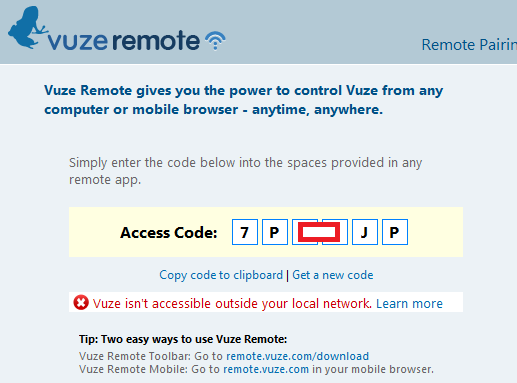 vuze remote pairing access code