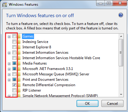 windows features list