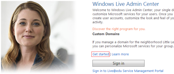 windows live for custom domain
