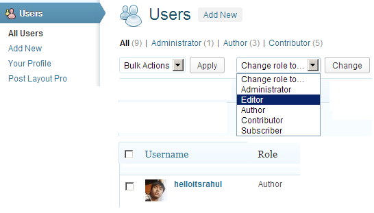 wordpress change user role