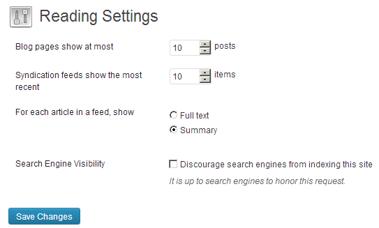 wordpress reading settings summary